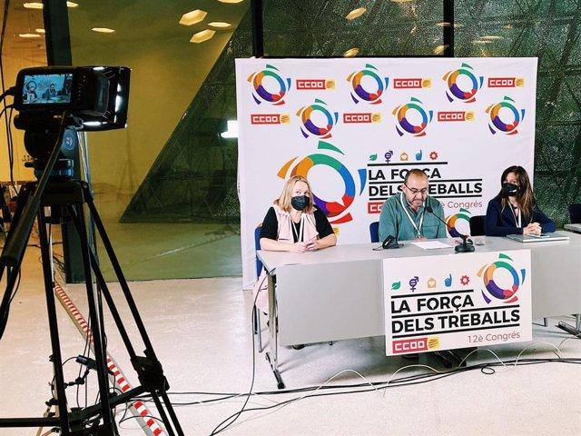 Roda de premsa de CC.OO. De Catalunya durant la seva 12 Congrés.