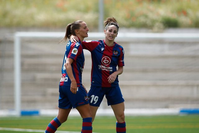 Esther Gonzalez and Sandie Toletti of Levante celebrates a goal during the spanish women league, Primera Iberdrola, football match played between Madrid CFF and Levante UD at Estadio Municipal Antiguo Canodromo on may 22, 2021, in Madrid, Spain.