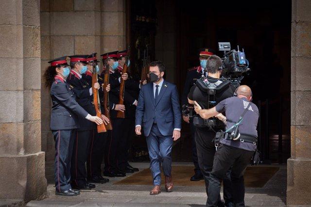 Pere Aragonès sortint del Parlament la setmana passada, ja com a president