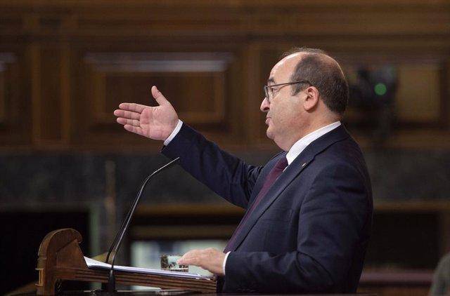 El ministre de Política Territorial i Funció Pública, Miquel Iceta, en una sessió de control al Govern dimecres passat 19 de maig de 2021