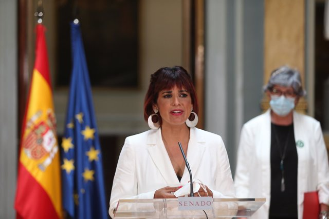 La líder d'Anticapitalistes a Andalusia i diputada autonòmica, Teresa Rodríguez intervé després de presentar una proposta des d'Andalusia en el Senat, a 24 de maig de 2021, a Madrid (Espanya).