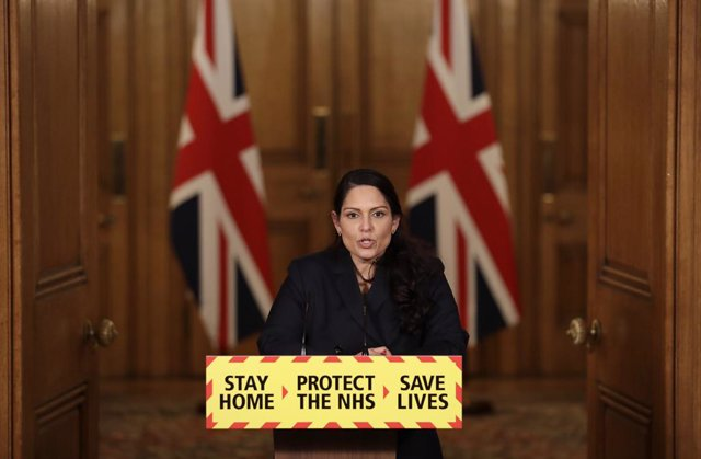 Archivo - 21 January 2021, United Kingdom, London: UK Home Secretary Priti Patel speaks during a media briefing in Downing Street on coronavirus (Covid-19). Photo: Matt Dunham/PA Wire/dpa