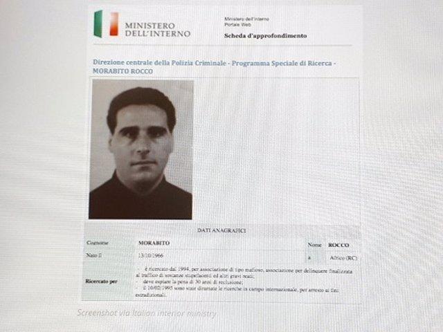Archivo - Ficha de información de Rocco Morabito del Ministerio del Interior italiano