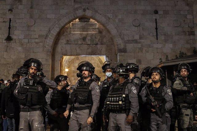 Policía de Israel durante una protesta en Jerusalén