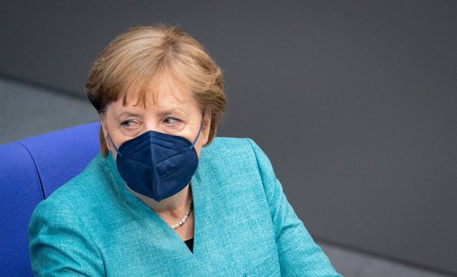 19 May 2021, Berlin: German Chancellor Angela Merkel attends a plenary session of the German Bundestag focusing on the current conflict in the Middle East. Photo: Kay Nietfeld/dpa