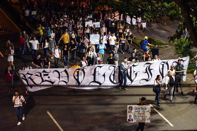 Archivo - Imagen de archivo de protestas en Cali.