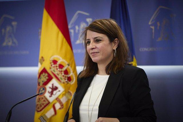 La sots-secretària general del PSOE i portaveu del Grup Parlamentari Socialista al Congrés, Adriana Lastra.