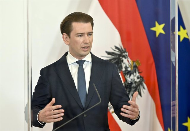 20 May 2021, Austria, Vienna: Austrian Chancellor Sebastian Kurz speaks during a press conference at the Federal Chancellery, following a meeting with experts on the coronavirus situation. Photo: Herbert Neubauer/APA/dpa