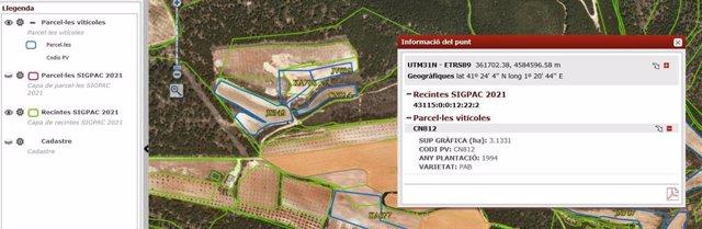 Vista del visor del mapa d'informació vitivinícola.