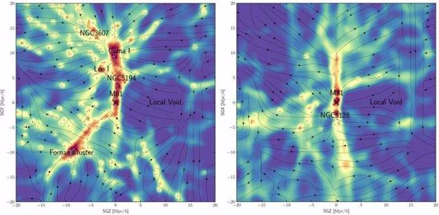 Un equipo internacional de investigadores ha elaborado un mapa de la materia oscura dentro del universo local, utilizando un modelo para inferir su ubicación debido a su influencia gravitacional en las galaxias (puntos negros).