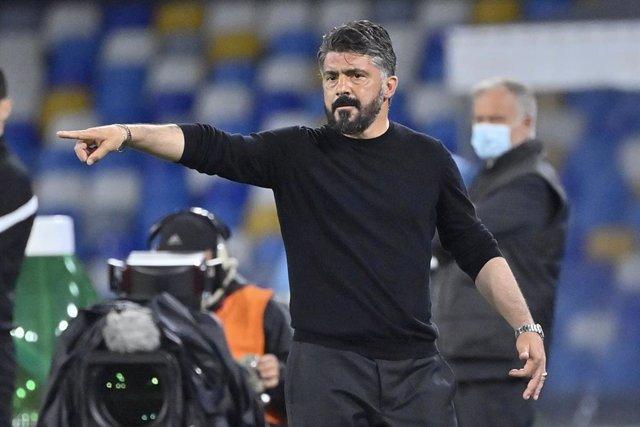 11 May 2021, Italy, Naples: Napoli Head coach Gennaro Gattuso gestures during the Italian Serie A soccer match between Napoli and Udinese at San Paolo stadium. Photo: Fabrizio Corradetti/LaPresse via ZUMA Press/dpa