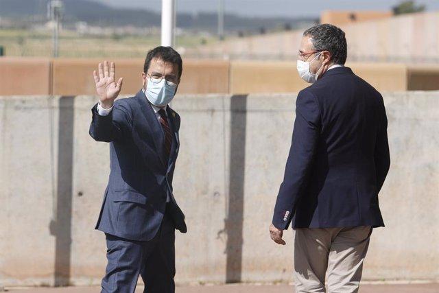 El president de la Generalitat, Pere Aragonès, arriba a la presó de Lledoners per visitar els presos de l'1-O.
