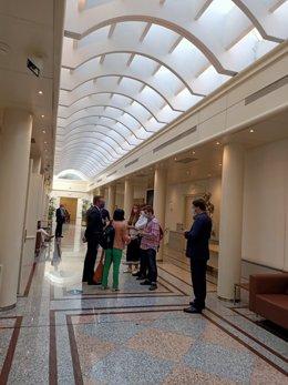 Carolina Darias mantiene una conversación con un MIR en los pasillos del Senado