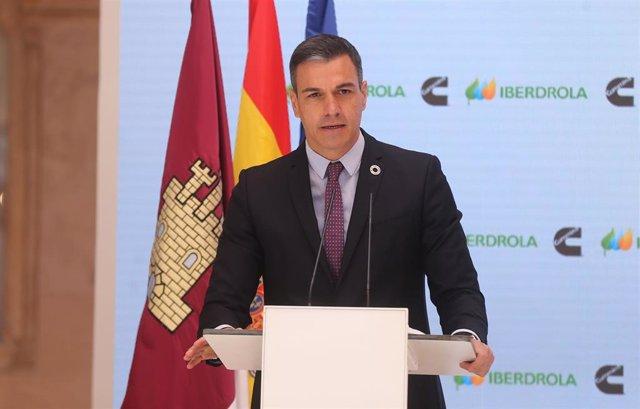 El presidente del Gobierno, Pedro Sánchez, interviene en la presentación del acto 'Haciendo de España un polo industrial del hidrógeno verde en Europa', a 24 de mayo de 2021, en Toledo, Castilla-La Mancha, (España).