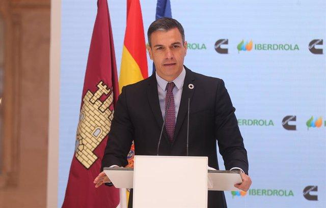 El presidente del Gobierno, Pedro Sánchez, interviene en la presentación del acto 'Haciendo de España un polo industrial del hidrógeno verde en Europa', a 24 de mayo de 2021, en Toledo, Castilla-La Mancha, (España). Este encuentro está convocado para dar