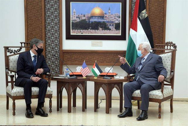 25 May 2021, Palestinian Territories, Ramallah: Palestinian President Mahmoud Abbas meets with US Secretary of State Anthony Blinken in the West Bank city of Ramallah. Photo: Thaer Ganaim/APA Images via ZUMA Wire/dpa