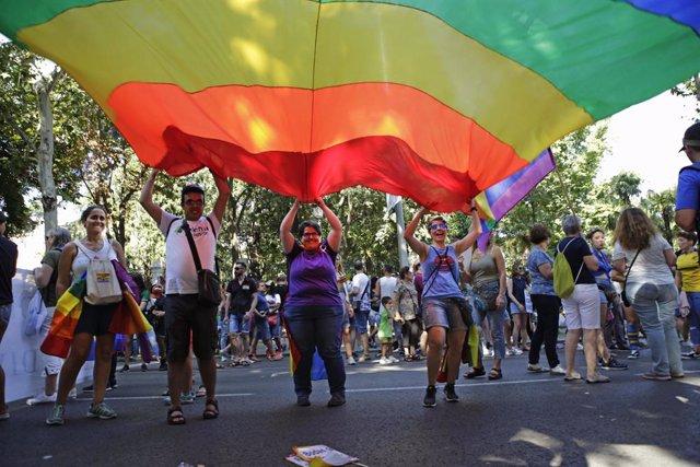 Un grupo de personas sujeta la bandera LGTBI en Madrid