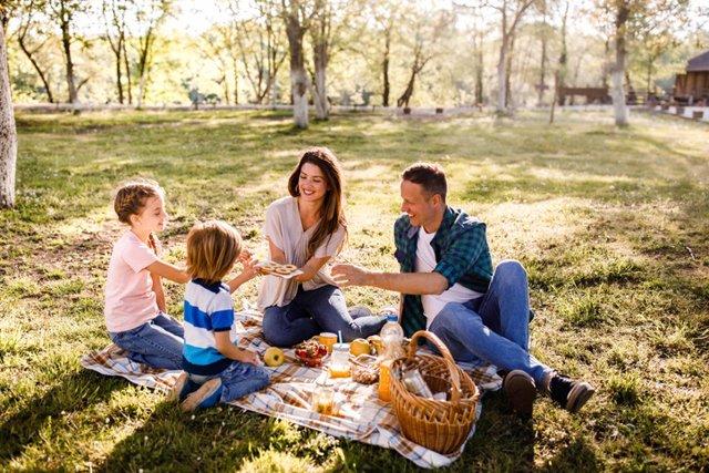 Archivo - Familia feliz, picnic campo, pribavera. Comida saludable.