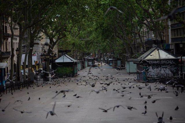 Archivo - La Rambla de Barcelona amanece vacía un día marcado por la festividad de Sant Jordi, que a diferencia de otros años, este no se puede celebrar con normalidad debido a la crisis del Covid-19 y al confinamiento