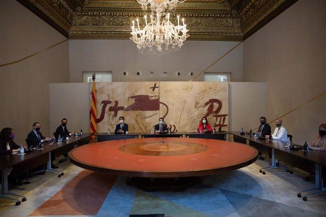Primera reunió del Consell Executiu que encapçala el president de la Generalitat, Pere Aragonès.