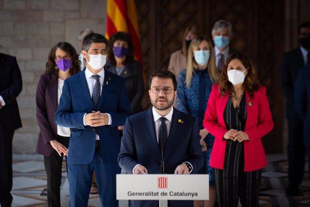 Comparecencia del presidente de la Generalitat, Pere Aragonès, tras la primera reunión del nuevo Govern.