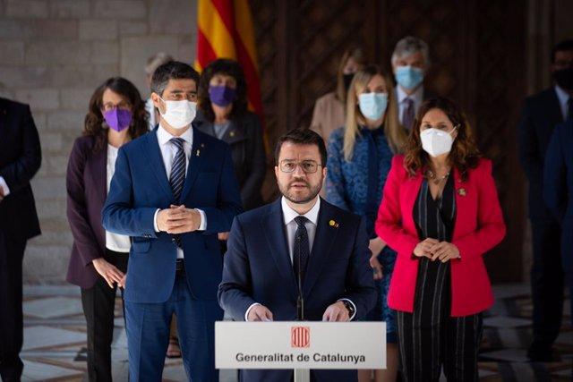 Compareixença del president de la Generalitat, Pere Aragonès, després de la primera reunió del nou Govern.