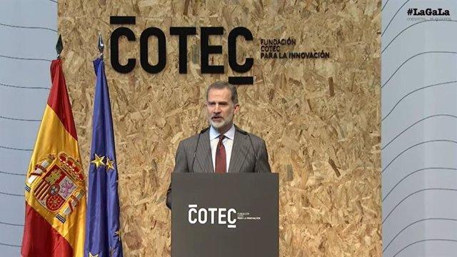 El Rey Felipe VI en el acto de presentación del 'Anuario 2021' de Fundación Cotec