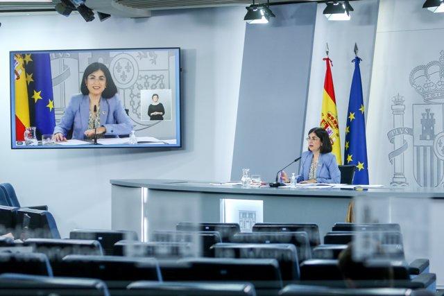 La ministra de Sanidad, Carolina Darias, durante la rueda de prensa posterior a la reunión del Consejo Interterritorial del Sistema Nacional de Salud