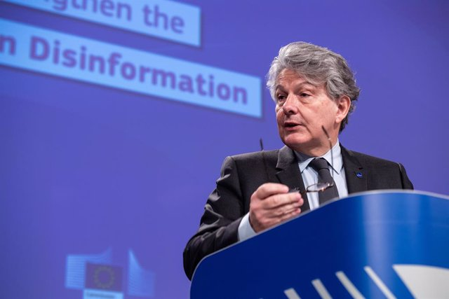 HANDOUT - 26 May 2021, Belgium, Brussels: European Commissioner for Internal Market Thierry Breton speaks during a press conference on the guidance for strengthening the code of practice on disinformation at the EU headquarters. Photo: Lukasz Kobus/Europe
