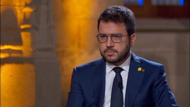 El president de la Generalitat, Pere Aragonès, durant la seva primera entrevista televisada des que va assumir el càrrec, i que ha emès Tv3 aquest dimecres 26 de maig de 2021.