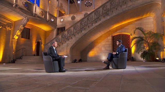 Entrevista de Tv3 al president de la Generalitat, Pere Aragonès, aquest dimecres 26 de maig de 2021 en el Palau de la Generalitat.
