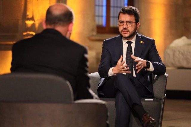 El president de la Generalitat, Pere Aragonès, durant una entrevista amb Tv3.