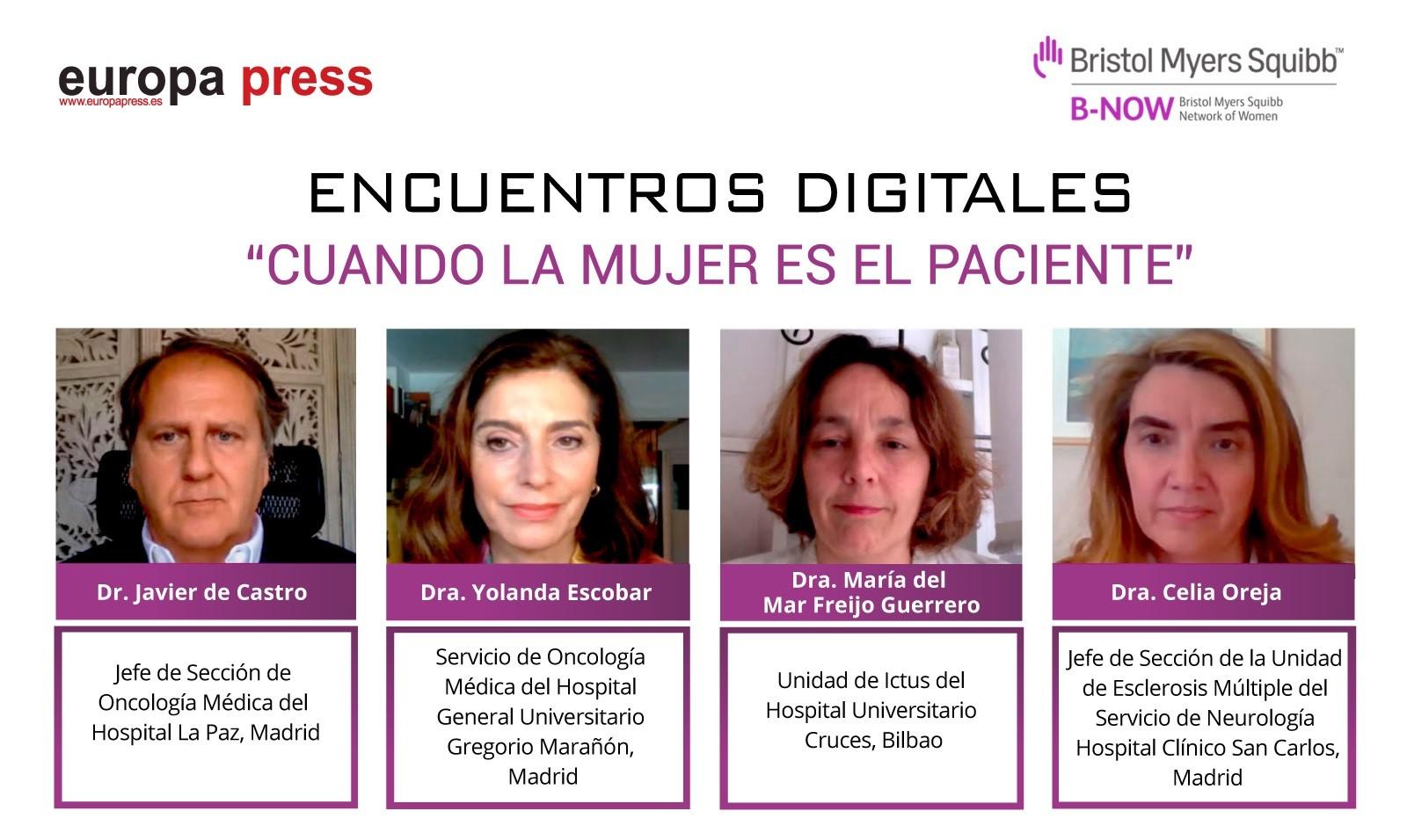 Intervinientes en el Encuentro Digital de Europa Press 'Cuando la mujer es el paciente'