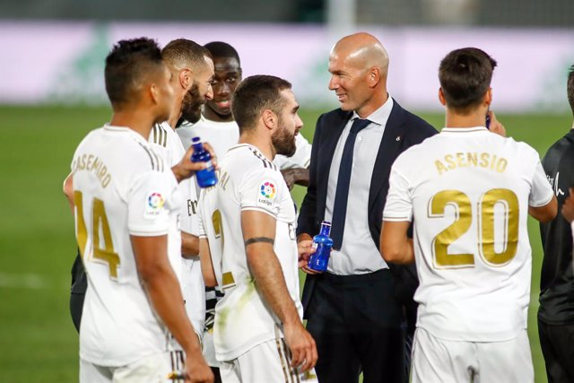 Archivo - Arxiu - Zinedine Zidane celebra el títol de LaLiga Santander 2019-2020.