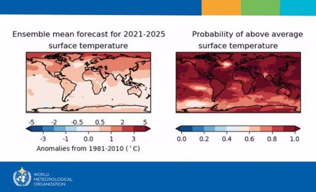 Nuevas prediccion de aumento de temperaturas para los próximos cinco años