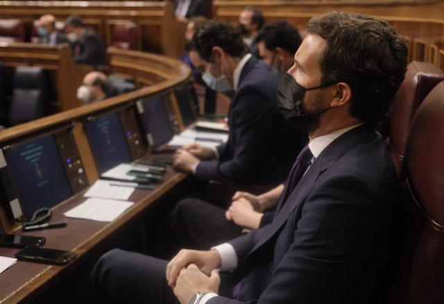 El líder del PP, Pablo Casado, en una sesión de control al Gobierno, a 26 de mayo de 2021, en el Congreso de los Diputados, Madrid, (España).