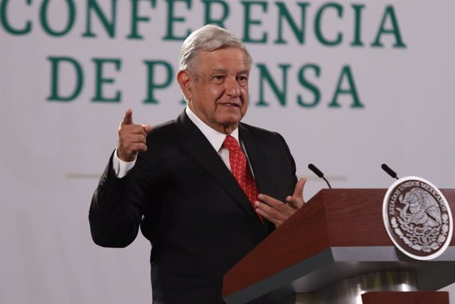 21 May 2021, Mexico, Mexico City: Mexican President Andres Manuel Lopez Obrador speaks during his daily press conference at the National Palace. Photo: Carlos Mejaa/El Universal via ZUMA Wire/dpa