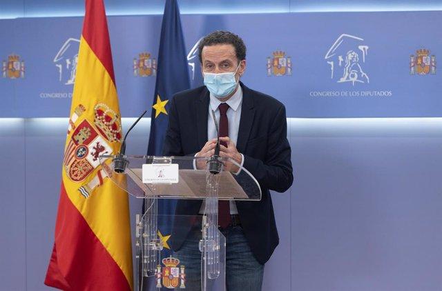 Archivo - Arxiu - El sotssecretari general de Ciutadans i portaveu adjunt al Congrés dels Diputats, Edmundo Bal, en una roda de premsa a la cambra baixa.