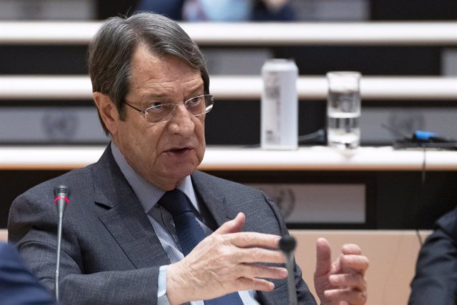 HANDOUT - 29 April 2021, Switzerland, Geneva: President of Cyprus Nicos Anastasiades speaks during the last day of the UNInformal 5+1 Meeting on Cyprus. Photo: Jean Marc Ferré/UN Photo/dpa - ATTENTION: editorial use only and only if the credit mentioned