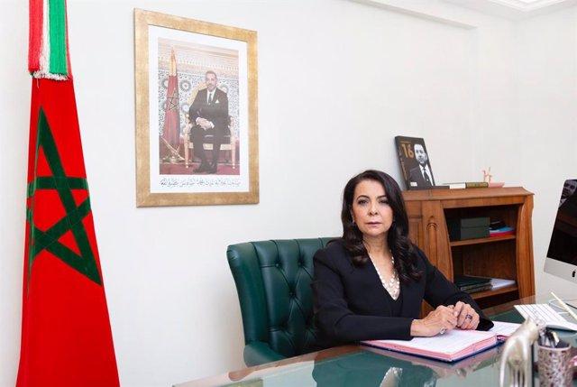 Archivo - La embajadora de Marruecos en España, Karima Benyaich
