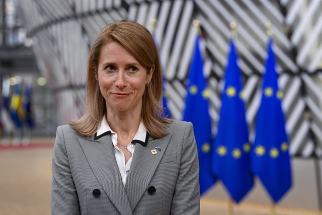 24 May 2021, Belgium, Brussels: Estonia's Prime Minister Kaja Kallas speaks to media upon her arrival to attend a special EU summit. Photo: Philip Reynaerts/BELGA/dpa