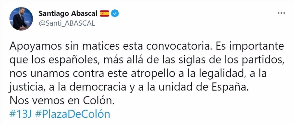 Abascal se suma a la concentración en Colón en contra de los indultos