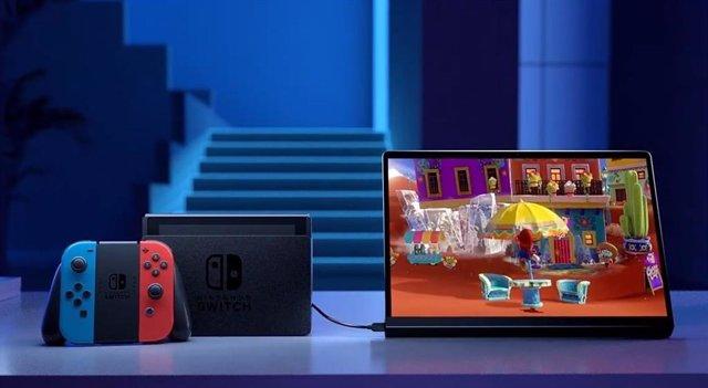 Imagen de la tableta Yoga Pad Pro como segunda pantalla de la Nintendo Switch