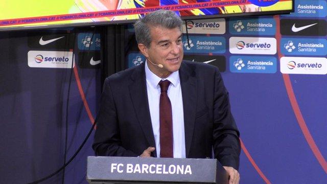 Archivo - Joan Laporta, presidente del F.C. Barcelona, durante la presentación oficial de Pau Gasol en su segunda etapa como jugador del Barça de basket, en Barcelona (España), a 25 de marzo de 2021.