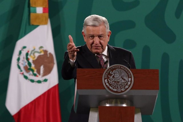 26 May 2021, Mexico, Mexico City: Mexican President Andres Manuel Lopez Obrador speaks during his daily press conference at the National Palace. Photo: El Universal/El Universal via ZUMA Wire/dpa