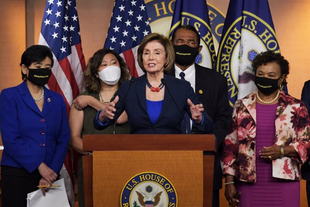 18 May 2021, US, Washington: US House Speaker Nancy Pelosi alongside other representative speaks during a press conference about of the COVID-19 Hate Crime Act at Capitol Hill. Photo: Lenin Nolly/ZUMA Wire/dpa