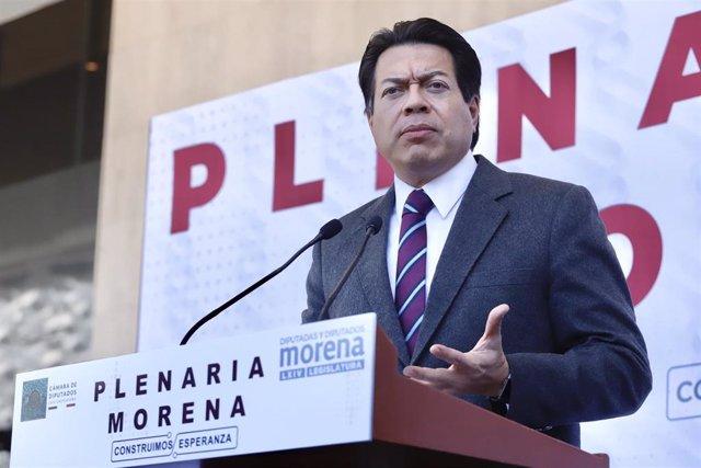 Archivo - El líder nacional del partido Morena de México, Mario Delgado.