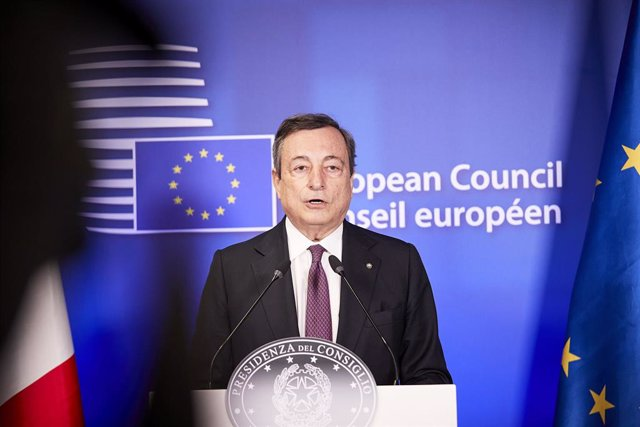 HANDOUT - 25 May 2021, Belgium, Brussels: Italian Prime Minister Mario Draghi speaks at a press conference during the second day of the special EU summit. Photo: Mario Salerno/EU Council/dpa - ATTENTION: editorial use only and only if the credit mentioned