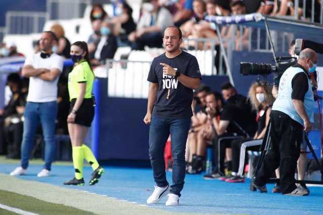 Lluis Cortes, head coach of FC Barcelona, gestures during the women spanish cup, Copa de la Reina, Sefiminal football match played between Madrid CFF and FC Barcelona at Butarque stadium on May 26, 2021 in Leganes, Madrid, Spain.