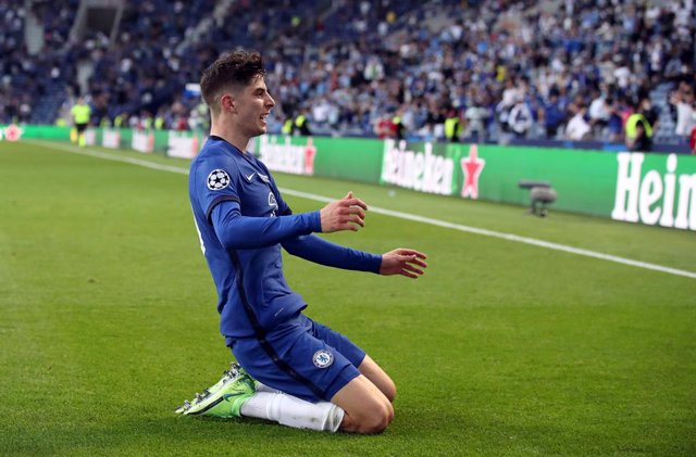 29 May 2021, Portugal, Porto: Chelsea's Kai Havertz celebrates scoring his side's first goal during the UEFA Champions League final soccer match between Manchester City and Chelsea at the Estadio do Dragao. Photo: Nick Potts/PA Wire/dpa